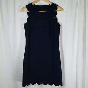 J. Crew Blk Label Sz 00 Navy Scalloped Edge Dress